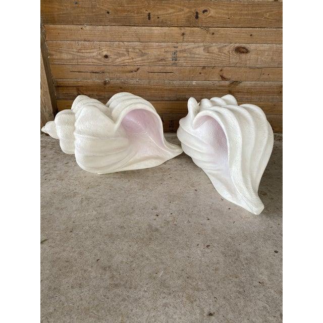 Alabaster Large Vintage Sculptural Plaster Shell Table Bases-Pair For Sale - Image 8 of 13