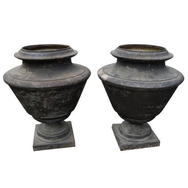 French French Antique Cast Iron Urns, Circa 1870 - a Pair For Sale - Image 3 of 8