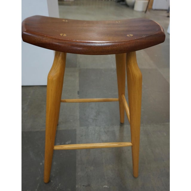 Set of 4 Mixed Wood Barstools For Sale - Image 4 of 10
