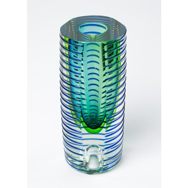 1980s Postmodern Glass Vase or Candlestick For Sale - Image 9 of 13