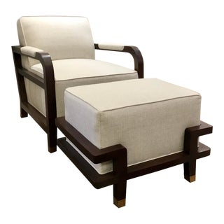 Pearson Modern Linen and Dark Walnut Carson Chair and Ottoman For Sale