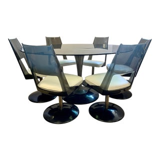 Chromcraft Mid Century Black Lucite Dining Set, Tulip Table and 6 Chairs For Sale