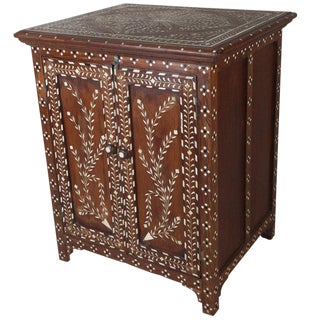 Teak Cabinet With Intricate Inlay, Mid-1900s For Sale