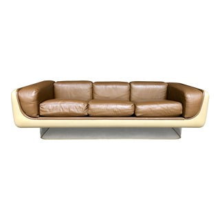 William Andrus Steelcase Fiberglass Sofa Brown Leather Lucite Base - Mid Century Modern Space Age Furniture Living Room Set For Sale