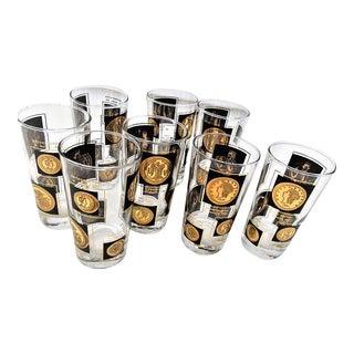 Vintage Black Gold Bar Glasses - Set of 8 For Sale