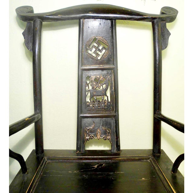 Antique Chinese High Back Arm Chair For Sale - Image 4 of 8