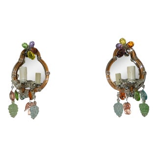 1930s Italian Mirrors Multi Coloured Prisms Murano Fruit Sconces - a Pair For Sale