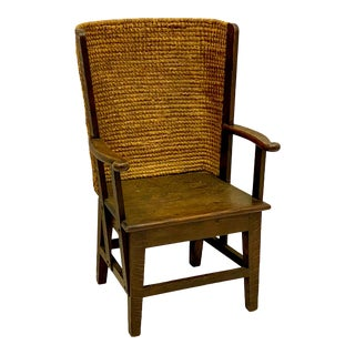 Antique Scottish Orkney Seagrass & Pine Child's Chair For Sale