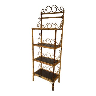 20th Century Boho Chic Rattan Etagere For Sale