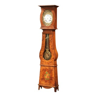 19th Century French Pine Painted Comtoise Grandfather Clock From Normandy For Sale