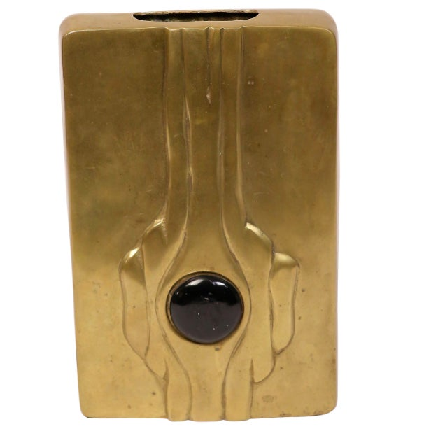 Mid-Century Modern Linear Brass Vase - Image 2 of 3