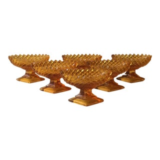 1900s Antique Amber Glass Footed Master Salt Cellars- Set of 6 For Sale