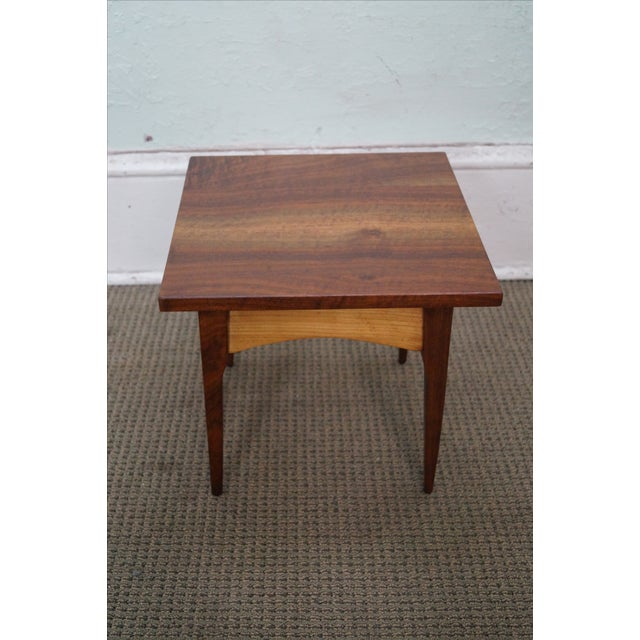 Hand-Crafted Solid Walnut Side Table - Image 3 of 10