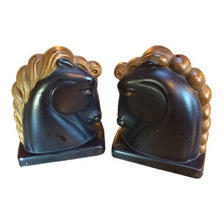 Vintage Art Deco Equestrian Horse Head Bookends - a Pair For Sale