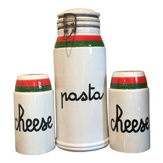 Mid-Century Baldelli Italia Pottery Pasta Canister & Cheese Shakers - Set of 3 For Sale
