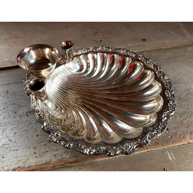 1920s Seashell Server Bowl with Candles & Dip, Sterling Silver Plated For Sale - Image 4 of 6