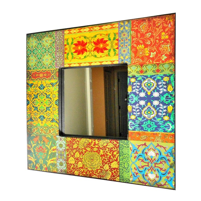 Boho Chic Boho Patchwork Wall Mirror For Sale - Image 3 of 6
