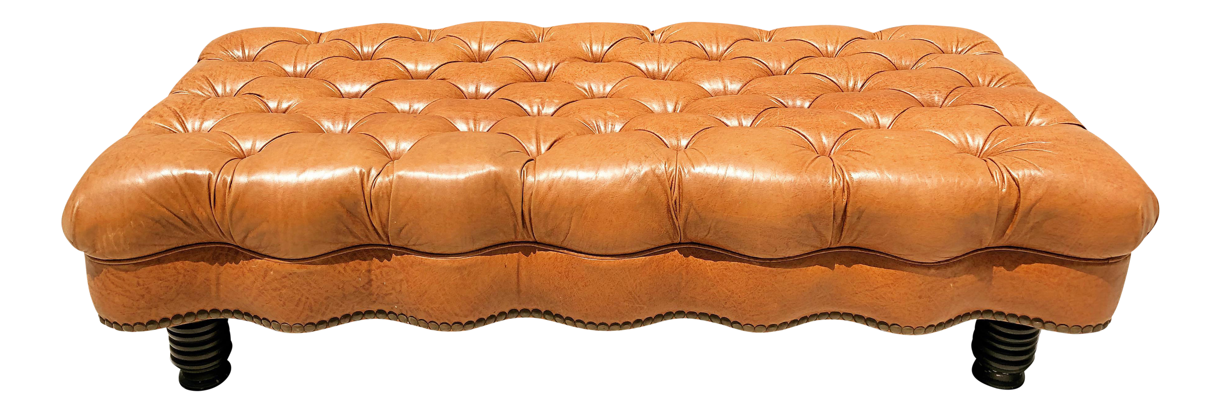English George Smith Tufted Leather Bench