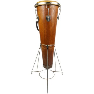 Rare Antique Modernist Design Gon Bop Conga Drum & Original Stand For Sale