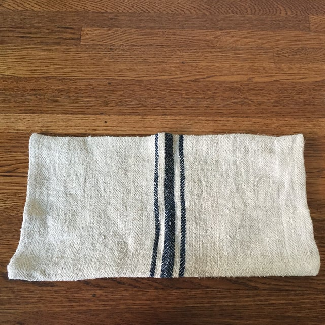 Vintage Linen Striped Lumbar Pillow Cover - Image 2 of 5
