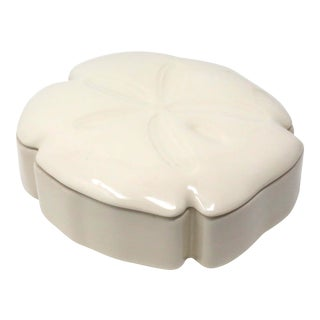 1992 Ceramic Sand Dollar Lidded Box For Sale