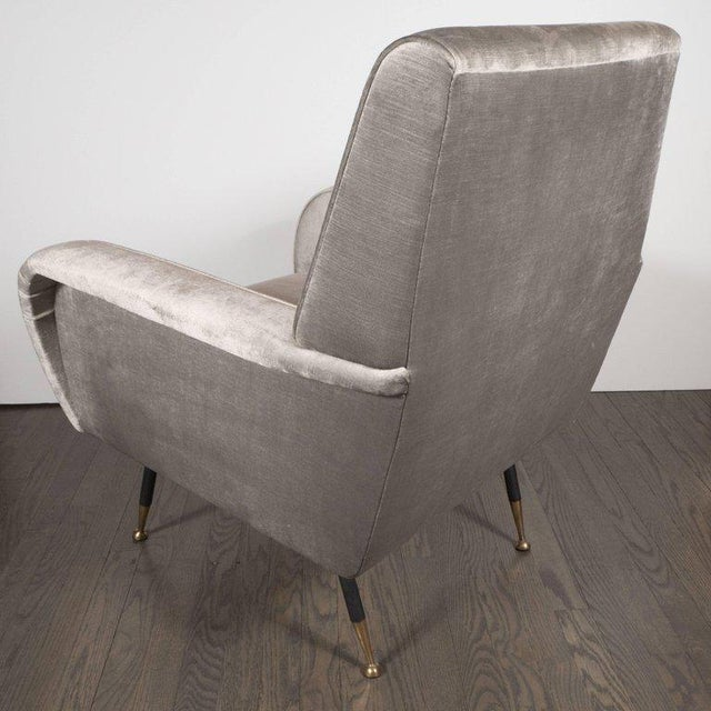 Italian Mid-Century Modern Lounge Chair with Black Enamel Legs and Brass Feet - Image 3 of 9