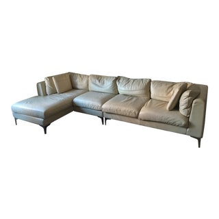 Modern American Leather Sectional Sofa For Sale