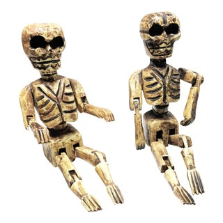 Vintage Hand Made Wooden Articulated Skeleton Dolls - A Pair