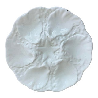 1950 White Majolica Oyster Plate For Sale