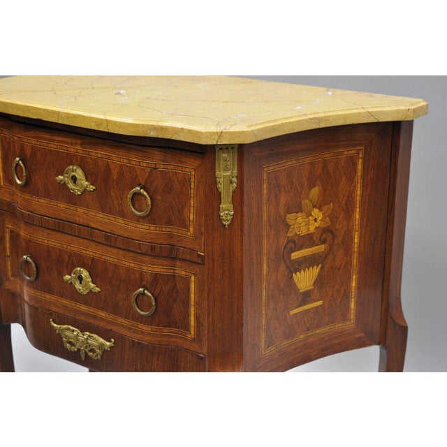 French Louis XV Style Inlaid Marble Top Bombe Nightstand For Sale - Image 9 of 11