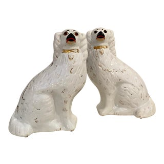 Antique Late 1800's Staffordshire White Dogs Pair For Sale