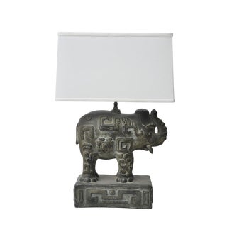 Bronzed Plaster Elephant Lamp For Sale