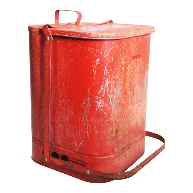 Vintage Industrial Red Metal Trash Can with Flip Top Lid For Sale