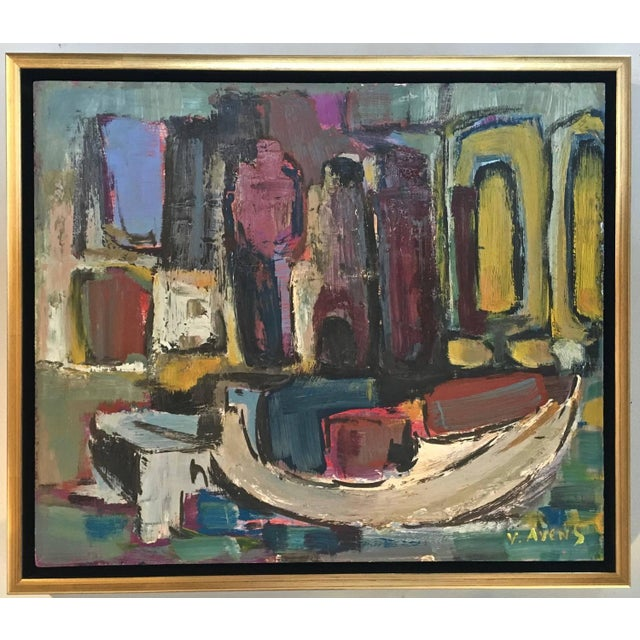Signed Mid-Century Abstract Oil on Board - Image 2 of 10