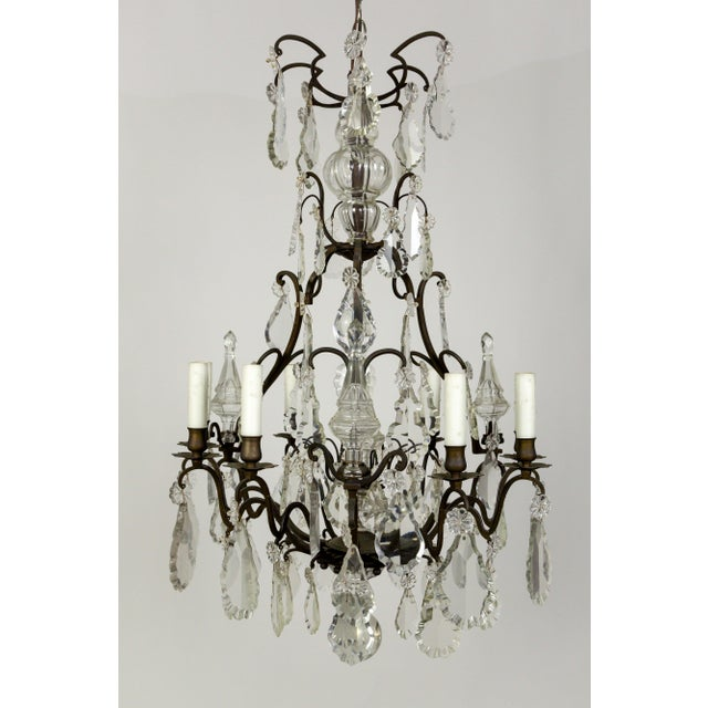 1920s Parisian Second Empire Style Darkened Brass Chandeliers - a Pair For Sale - Image 5 of 13