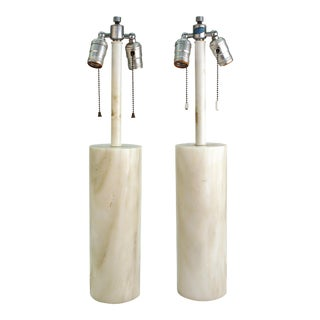 Mid-Century Modern Nessen Table Lamps in White Marble - a Pair For Sale