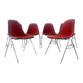 Eames Upholstered Shell Chairs for Herman Miller - Set of 6 For Sale