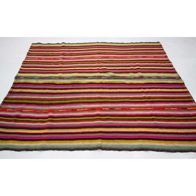 Contemporary 1960s Vintage Colorful Striped Decorative Kilim Rug- 6′ × 7′2″ For Sale - Image 3 of 7