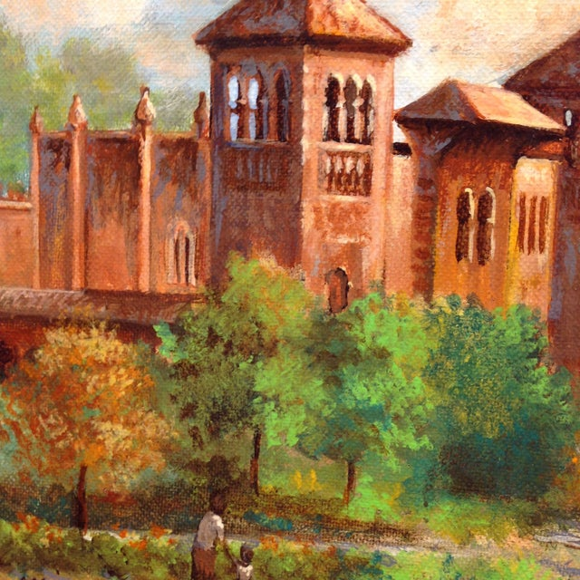 Green Plaza De America, Seville Spain - Oil Painting For Sale - Image 8 of 11