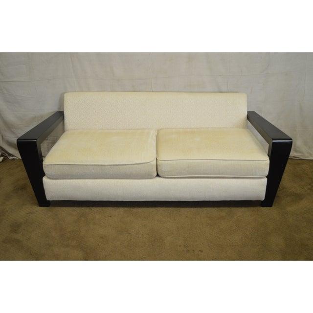 Lacquer Thayer Coggin Modern Design Black & White Sofa For Sale - Image 7 of 10