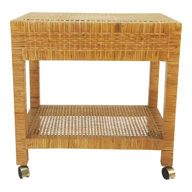 Wrapped Rattan Bar Cart For Sale