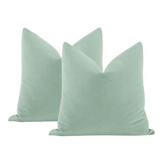 "22"" Sea Blue Italian Velvet Pillows - a Pair For Sale"