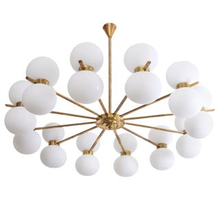 Exceptional Large Murano Glass and Brass Chandelier For Sale