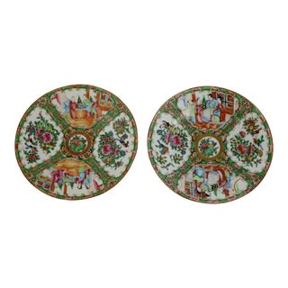 Antique Chinese Qing Rose Medallion Porcelain 8.5 Inch Plates Set of 2 For Sale