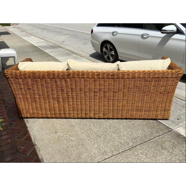Boho Chic Rattan Tuxedo Sofa For Sale - Image 10 of 11