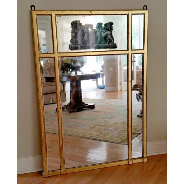 Mid 19th Century 19th Century Neoclassical Eglomise Mirror With Angel & Griffin For Sale - Image 5 of 7