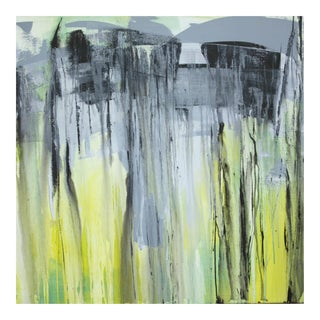 Abstract Painting Large Square in Chartreuse Yellow Gray Black by Paul Ashby