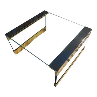 1960s Mid-Century Modern Brass & Large Square Glass Top Coffee Table For Sale