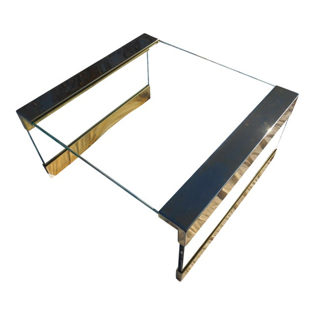 1960s Mid Century Modern Brass Large Square Glass Top Coffee