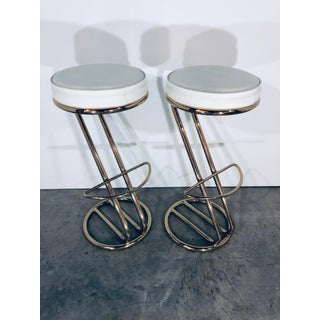 Mid Century Modern White Leather and Brass Bar Stools- A Pair Preview